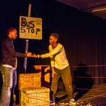 The boy, (played by Omogolo and Vusi, his lover, (played by Lebohang) make a promise to each other.